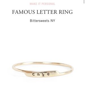 Catbird yellow gold famous letter ring